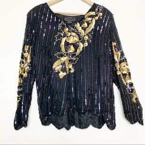 Vintage Black & Gold Beaded Sequined Popover Blous